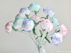 flower crafts, tissue paper flowers, craft idea, mother day gifts, flower tutorial