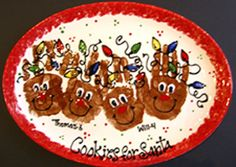 Handprint Cookies for Santa reindeer platter