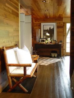 wood plank walls & antique heart pine flooring