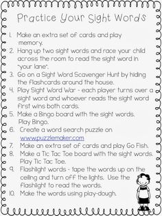 A note to send home to parents giving ideas on how they can work on sight words at home.