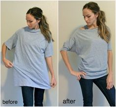 Old big t-shirt into cute, lazy day shirt - definitely going to try this, I have so many big t-shirts!