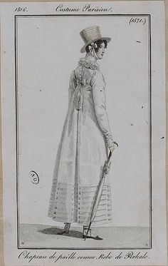 1816 Costume Parisien. Hat of stitched straw. Cotton dress. Umbrella/parasol. Embroidered ruff.