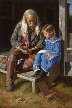 Lessons with Grandpa. Alfredo Rodriguez, American artist. http://www.alfredoartist.com