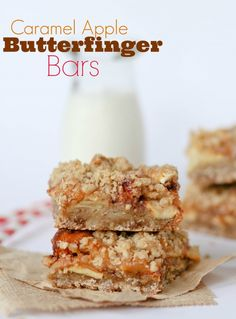 Caramel Apple Butterfinger Bars -- these are INCREDIBLE! Great flavor combo.