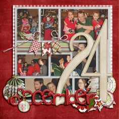 December 24, pg.1...scrap multiple photos in a patchwork design. Record the story on a separate page.