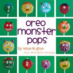 wines, cake, oreo pops, monster pop, birthday idea, oreos, monsters, bonbon break, parti