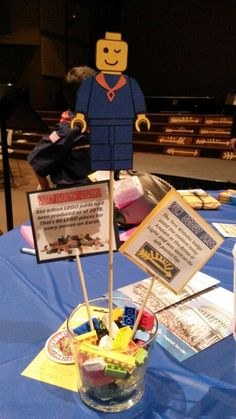 Vanessa made our Lego centerpieces for Blue and Gold Banquet.