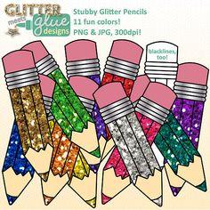 Stubby Glitter Pencils Back to School Supplies Clipart - 11 Fun Colors! #clipart #backtoschool #teaching
