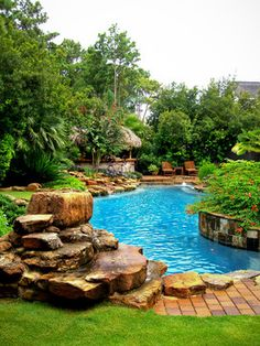 One day, I will have this. Add a hot tub in a gazebo with a glass roof for the winter  you have my perfect backyard.
