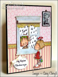 A very Sassy Scene... love this! roller blind, stamp, paper, box, card window, picture frames, shade, april showers, sassi scene