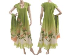 Handmade hand dyed long dress in green with apricot - art to wear for plus sized women - with scarf - large L. $180.00, via Etsy.