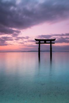 Morning Glow - Torii in Lake Biwa, Shirahige Shrine, Takashima, Shiga, Japan