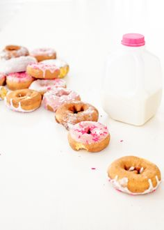 greet your guests with pink donuts & mini jugs of milk in the morning! jugs available at www.shopsweetlulu.com | photography by stevie pattyn for shop sweet lulu