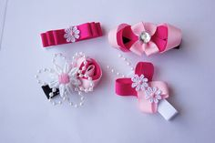 Pink, white and black ribbon sculptured hair clips, baby hair clips, toddler clips, teen clips