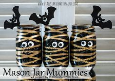 These cute mummy mason jar votives are perfectly Halloween chic! Be sure to check out the tutorial - there is a technique that makes these easier to make!