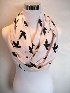 LONG Black Bird Flying Birds Silhouette on White Jersey Knit Infinity Scarf by ChevronScarf, $25.00