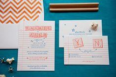 Rachel + Josh's Scrabble Letterpress Wedding Invitations by Gus and Ruby Letterpress