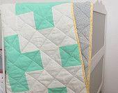 Mint Polka Dot Yellow Hexagon Baby Crib, Toddler, Twin Plus Quilt