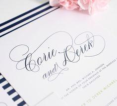 navi blue, gorgeous script, blue weddings, script fonts, gorgeous font