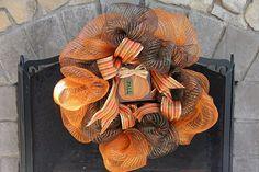 decomesh, fall mesh, ribbons, door decor, fall craft, mesh ribbon, deco mesh wreaths, ribbon wreaths, craftdiy idea