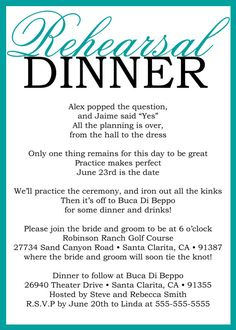Such a cute poem for a rehearsal dinner invitation!