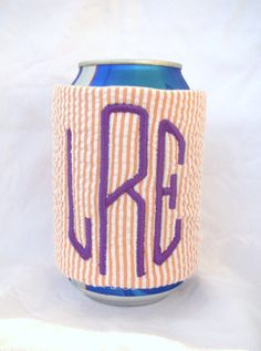 Orange and White Seersucker, Monogrammed Koozie