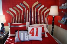 hockey room ideas.  Check out the lamp!
