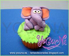 Cupcake fondant -- Elefante by YOCUNA TARTAS DECORADAS, via Flickr
