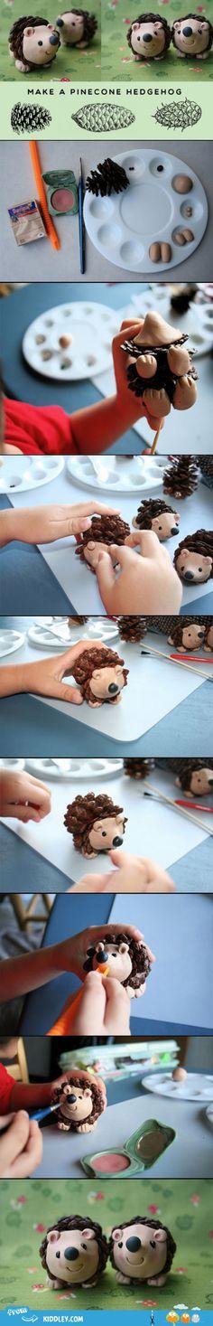 diy fun for kids, pinecon hedgehog, stuff, clay crafts for kids, hedgehogs, polym clay, diy idea, pinecone crafts for kids, polymer clay for kids