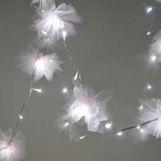 DIY Tulle Flower Fairy Lights
