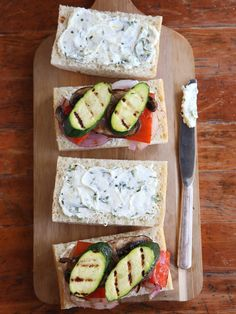 Grilled Veggie Sandwich with Herbed Cheese Spread