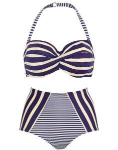 figleaves swimwear Santa Maria Underwired Twist Bandeau Bikini Top Set in Navy/Cream/Orange #SS14SWIM #NauticalButNice #figleaves