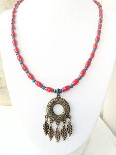 Dream Catcher Jewelry Red Blue Gypsy Style by 2BeBeadedBySana
