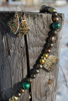 Beautiful jewelry sets made out of broken shards of pottery from the tsunami...