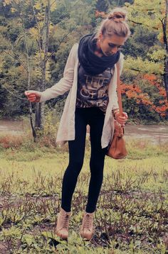 Booties, skinnies, chaser tee, oversized cardigan, infinity scarf, topknot. Love