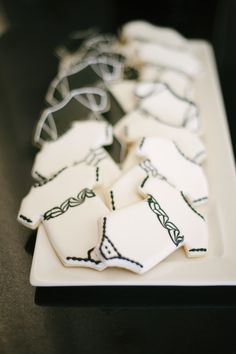 Onesie cookies for a black & white baby shower