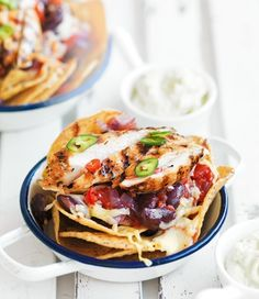 Chicken and Bean Nachos with Lime Guacamole