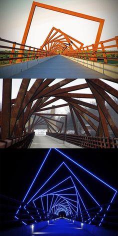 Public artist David B. Dahlquist – of RDG Dahlquist Art Studio – designed the 35 feet tall, 12 feet wide and 2640 feet long High Trestle Trail Bridge in Boone County, Iowa