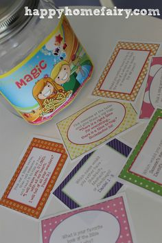 mealtime magic cards questions and verses for dinner conversation...cute and free printable!