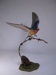Barn Swallow Hand Carved Wooden Bird by jjstudio on Etsy,