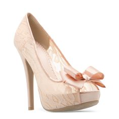 MUST. HAVE. THESE!!! Peep now toe, in petal peach lace! So cute!!