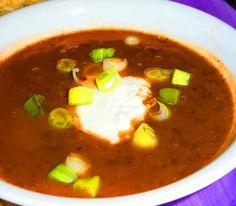 Black Bean & Salsa Soup #Recipe. #Celiac #coeliac, use #glutenfree #Stock, #Salsa. Easily #Vegan.