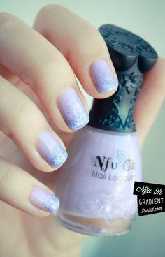 Purple gradient; sparkles glitter nails nail art polish