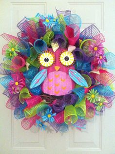 Colorful Owl Wreath by AliciaHarrisCanvases on Etsy, $65.00