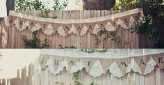 Burlap and Lace Banner.