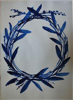 blue painted wreath... kate roebuck