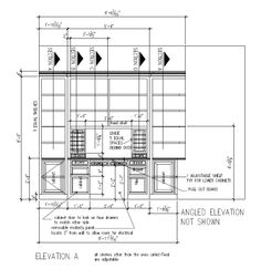 Shop drawing for built-in desk and bookcases for Jason and Holly Miday of Fulshear, TX (Cross Creek Ranch subdivision).  There are two sections; this is the main section--with the desk.  Raised panel doors and drawers (knotty alder with Jacobean stain).  (drawing by Irini Kotelou / Custom Cabinets Houston)