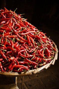 Chillies (piments) at the Port Louis market