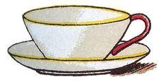 Vintage Clip Art - Cute Teacup - Place Card