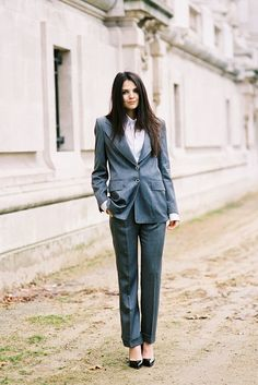 Must Try: PANTSUITS! a charcoal grey suit feels menswear and manages softens your look a bit more than basic black suiting.